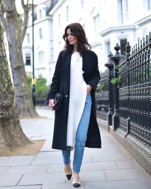 Hedvig Northern-Light, Long Coat, Chanel Two Tone Slingbacks, Side Split Knit