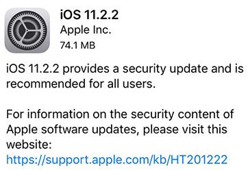 iOS 11.2.2 Update apa saja