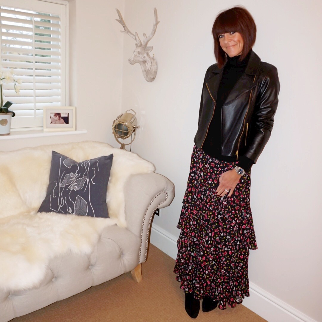 my midlife fashion, baukjen everyday leather biker jacket, marks and spencer a line ruffle maxi skirt, marks and spencer pure cashmere roll neck jumper, iro paris ankle boots