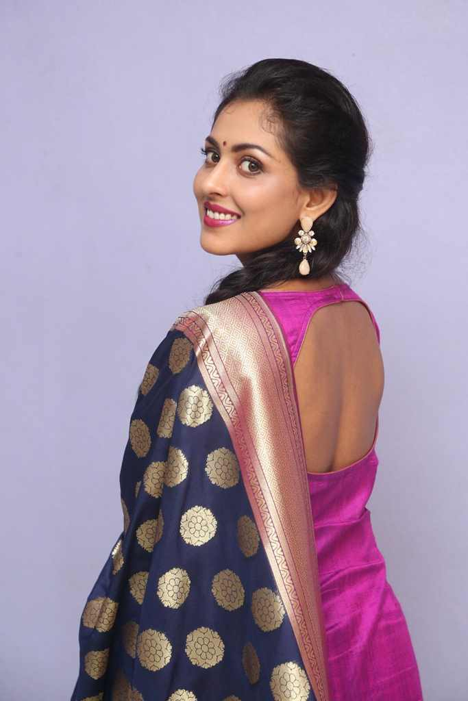 Glamours Tollywood Madhu Shalini Hot Smiling Photos In Violet Punjabi Dress