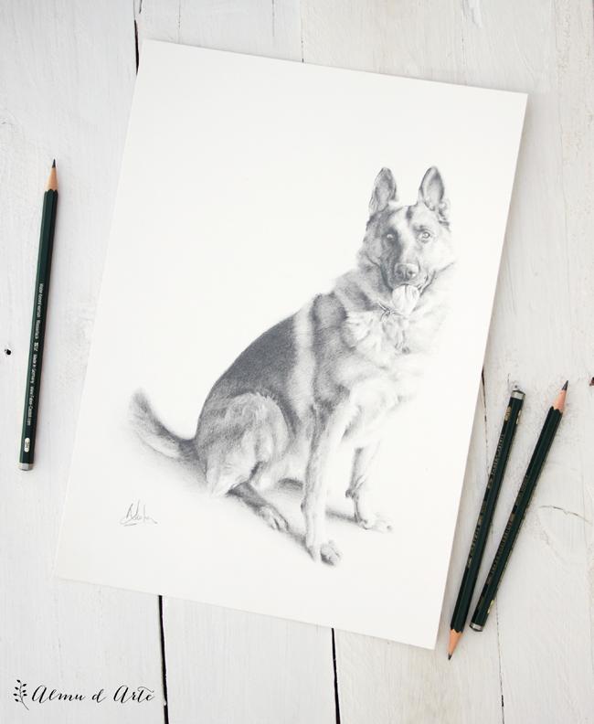 Retrato de mascota a lápiz