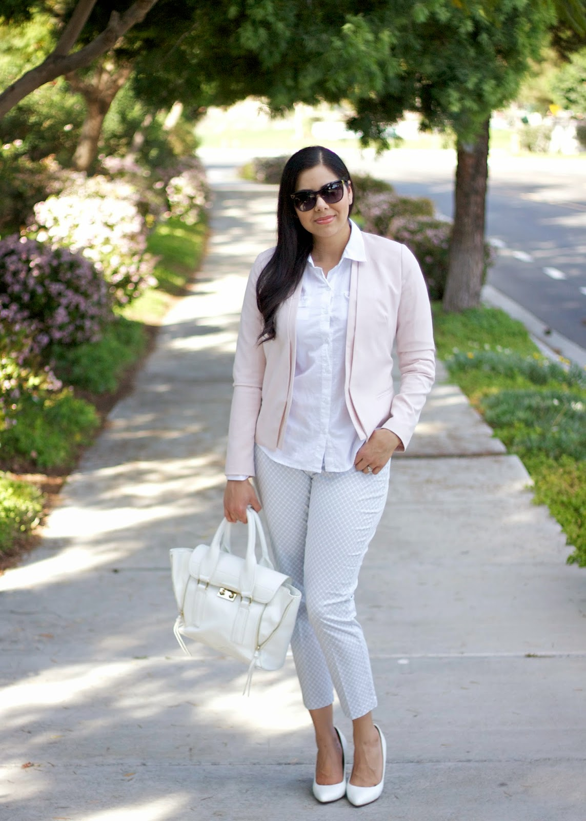Slim City Pant with pink blazer, pink blazer outfit, perfect Spring suit, Spring business suit