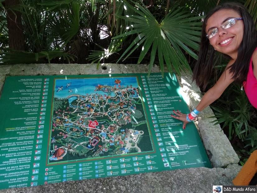 Mapa O que fazer em Xcaret - México