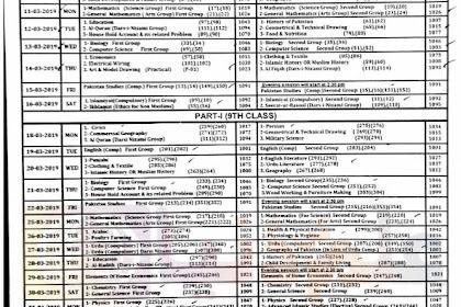 9th class date sheet 2019 biserwp