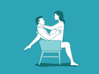 6. على كرسي :  تمتد شريك حياتك كما يجلس على كرسي قوي. ضع كرسي بالقرب من جدار أو قطعة أخرى من الأثاث لتتكئ على عندما كنت على استعداد للحصول على ما يصل من هذا الموقف.