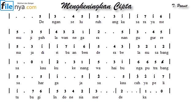 Hymne Pahlawan (Mengheningkan Cipta) Not Angka,Not Balok,Lirik,Chord