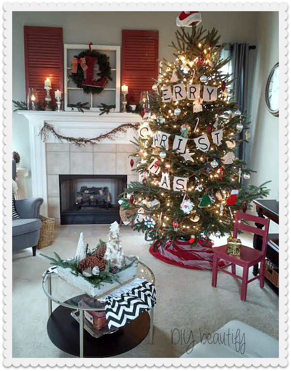 Christmas Mantle and Tree DIY beautify blog