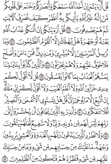 Tafsir Surat Al-An'am Ayat 46, 47, 48, 49, 50