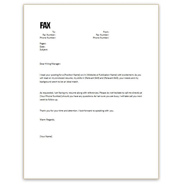 A Cover Letter For A Resume: Resume Cover Letter Template