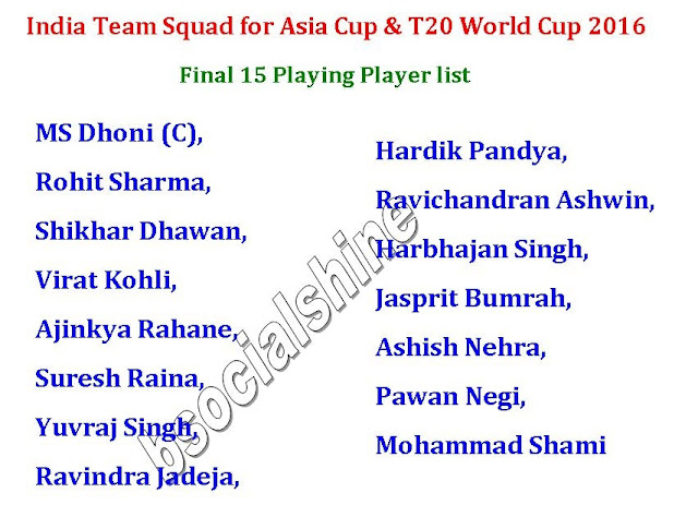 India Team Squad for Asia Cup & T20 World Cup 2016,India Team Squad for Asia Cup 2016,india player list for asia cup 2016,t20 asia cup indian team squad,final 15 player list,11 player list,asia cup team,player list,Indian Final 15 Player list for T20 Asia Cup 2016 & T20 World Cup 2016,Yuvraj Singh,india team squad for 2016 asia cup,Final 15 Playing Player list,india player list for t20 world cup 2016,players,indian team,playing players Indian Final 15 Player list for T20 Asia Cup 2016 & T20 World Cup 2016  Click here for more detail..    India Team Squad  MS Dhoni (C),  Rohit Sharma,  Shikhar Dhawan,  Virat Kohli,  Ajinkya Rahane,  Suresh Raina,  Yuvraj Singh,  Ravindra Jadeja,  Hardik Pandya,  Ravichandran Ashwin, Harbhajan Singh,  Jasprit Bumrah, Ashish Nehra,  Pawan Negi,  Mohammad Shami