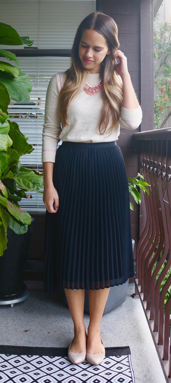 Jules in Flats - September Work Outfit - Sweater + Midi Skirt + Flats