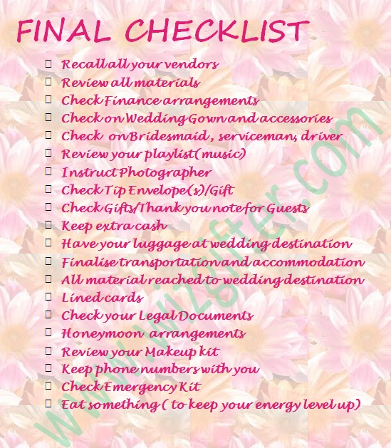 Wedding To Do Lists: Final Wedding Checklist...The Last Thing To Do Before
