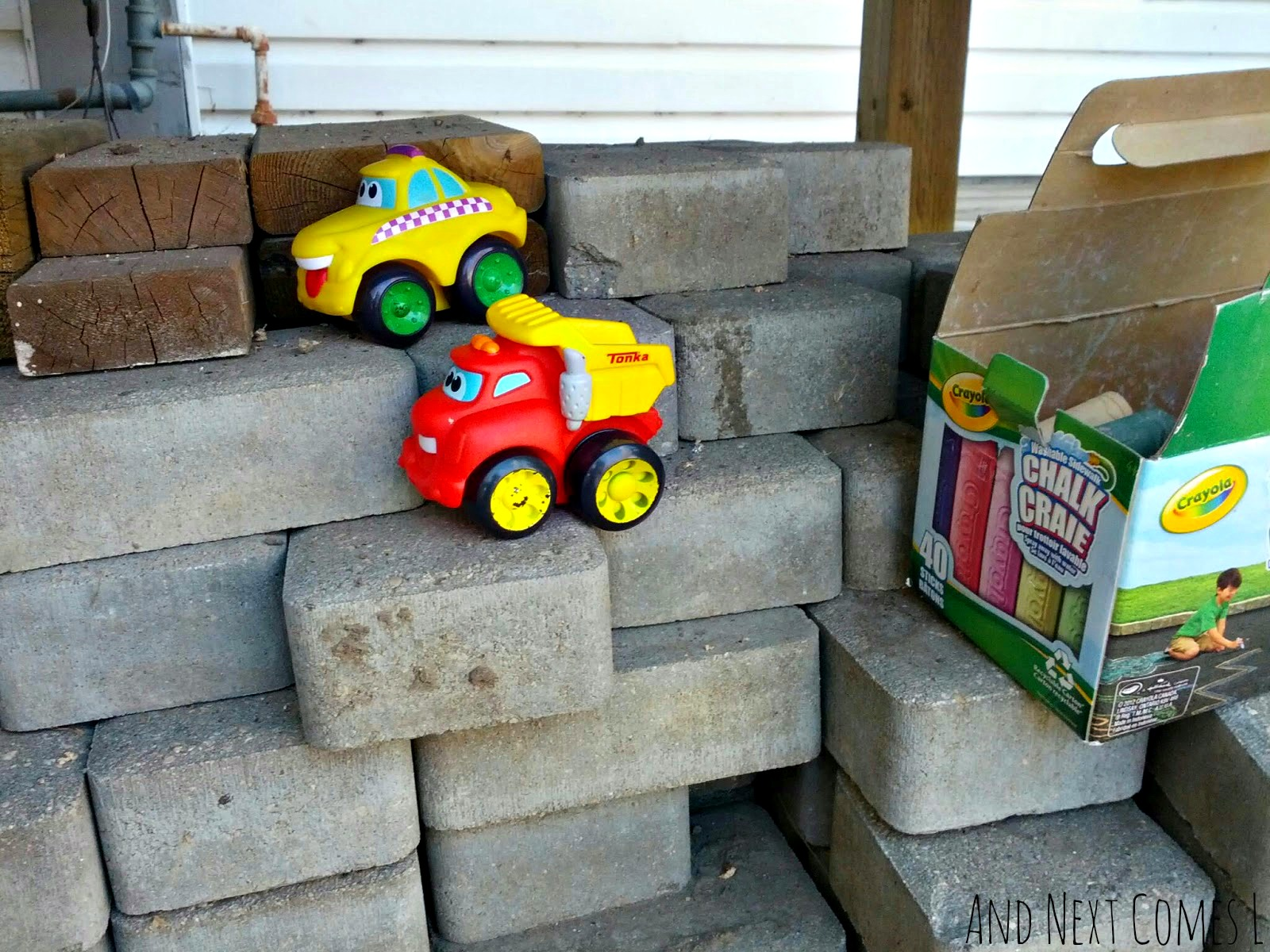 Supplies needed for making DIY outdoor roads for kids' car play from And Next Comes L