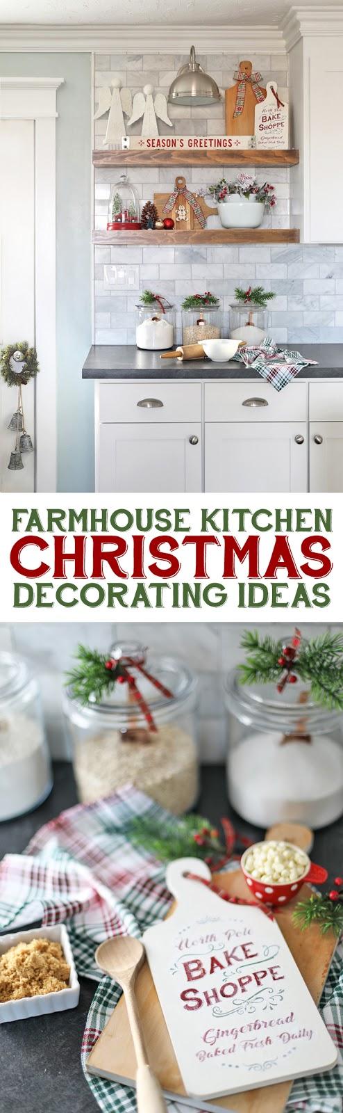 Farmhouse Kitchen Decorating Ideas. How to decorate open shelves for the holidays. #Christmasdecor #handmadewithjoann