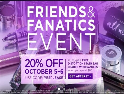 Urban Decay Friends & Fanatics Event 20% Off