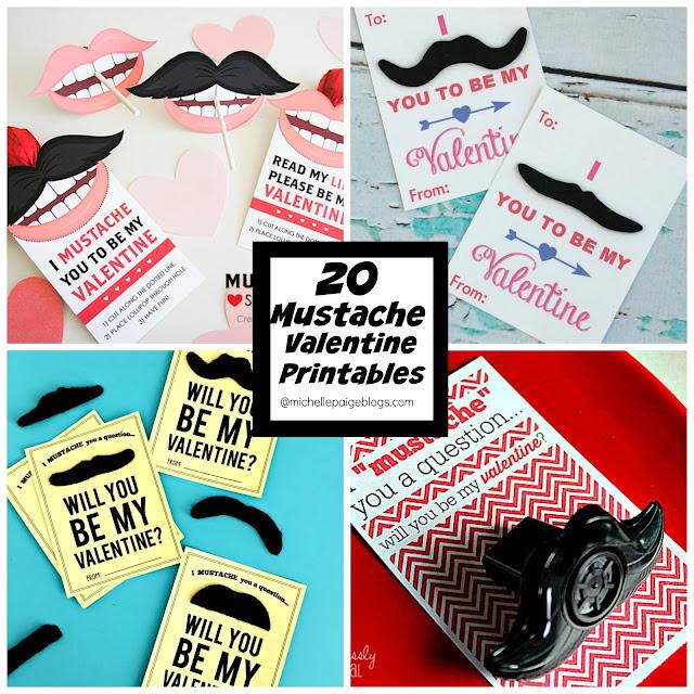 20 Printable Mustache Valentine Ideas @michellepaigeblogs.com