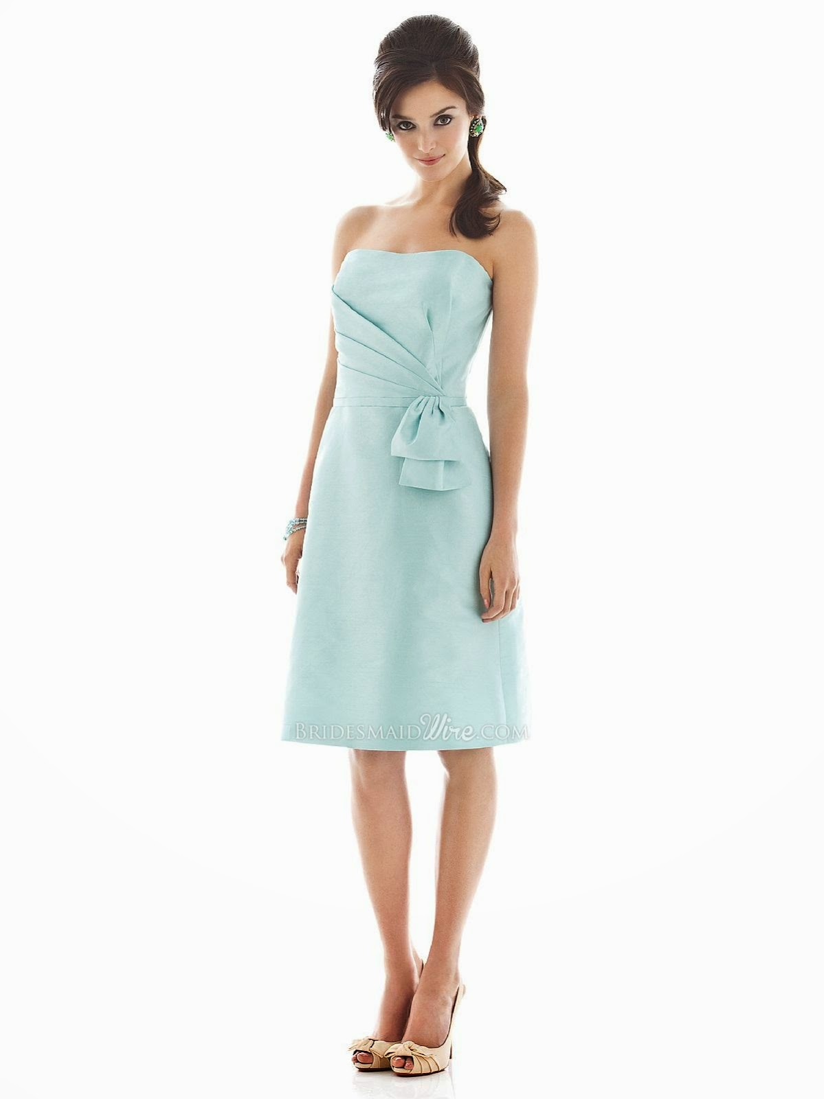 Seaside Strapless Knee Length Asymmetrical Pleated A-line Bridesmaid Dress-1