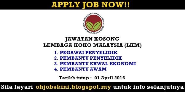 Jawatan Kosong Lembaga Koko Malaysia (LKM)
