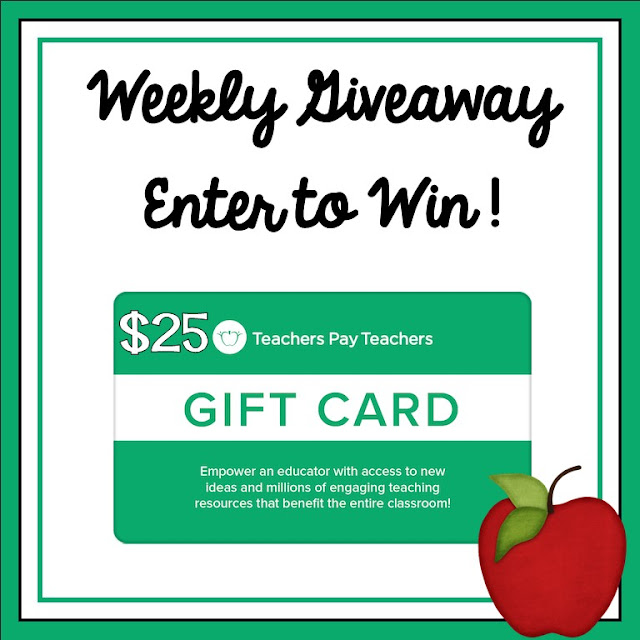 Teacher Giveaway - Weekly $25 Teachers pay Teachers gift card giveaway