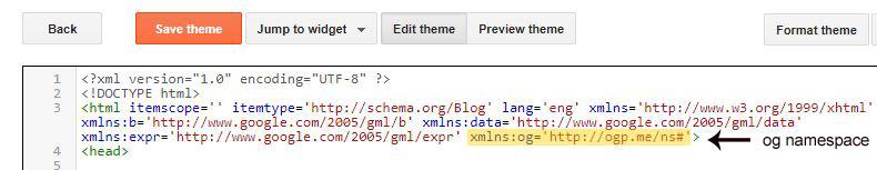 Open Graph tags screenshot