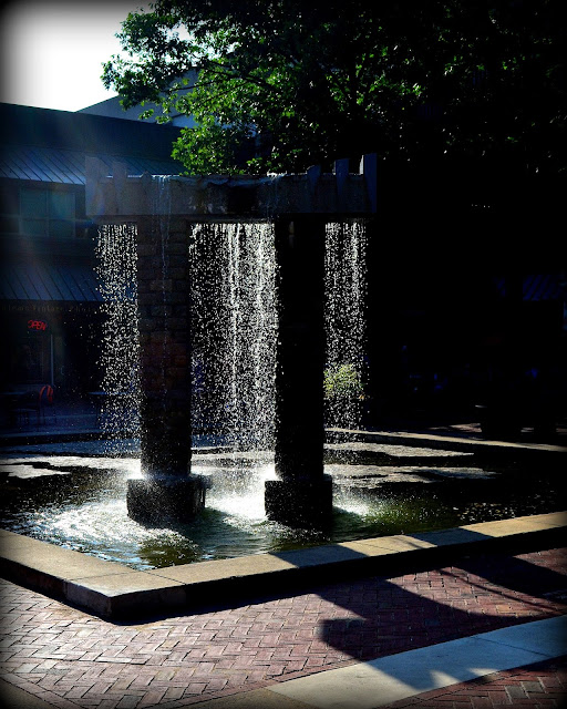 East India Square, Salem, Massachusetts, fountain, shadows