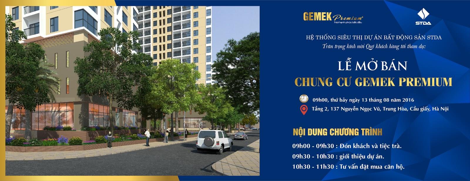 Thư mời dự lễ mở bán căn hộ Gemek Premium ngày 13/8/2016