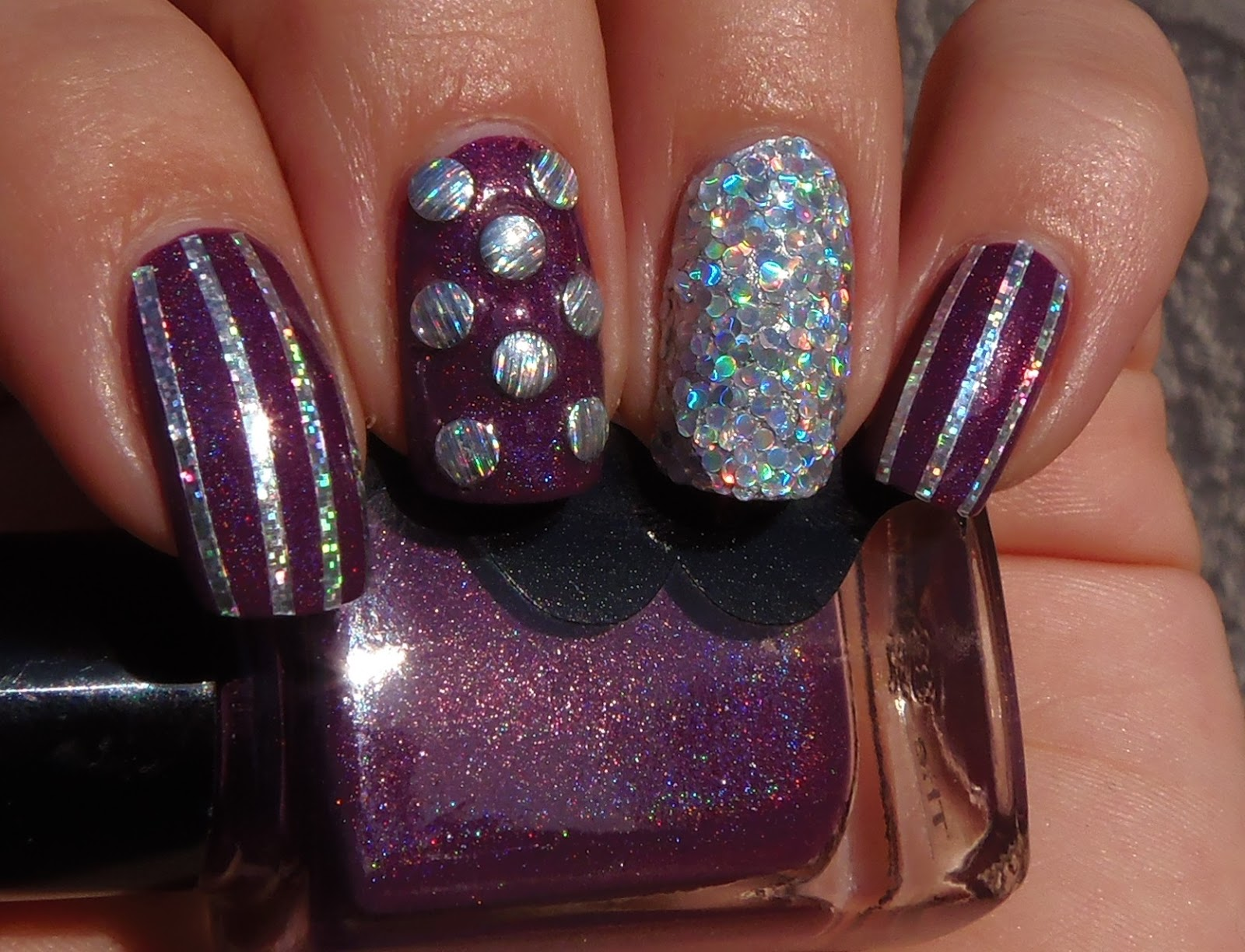 Sparkly Vernis: Stached Polish The Ministry with holo accents
