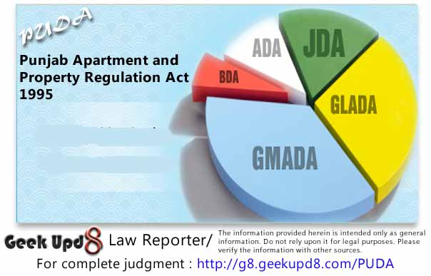 PUDA - Punjab Apartment and Property Regulation Act, 1995