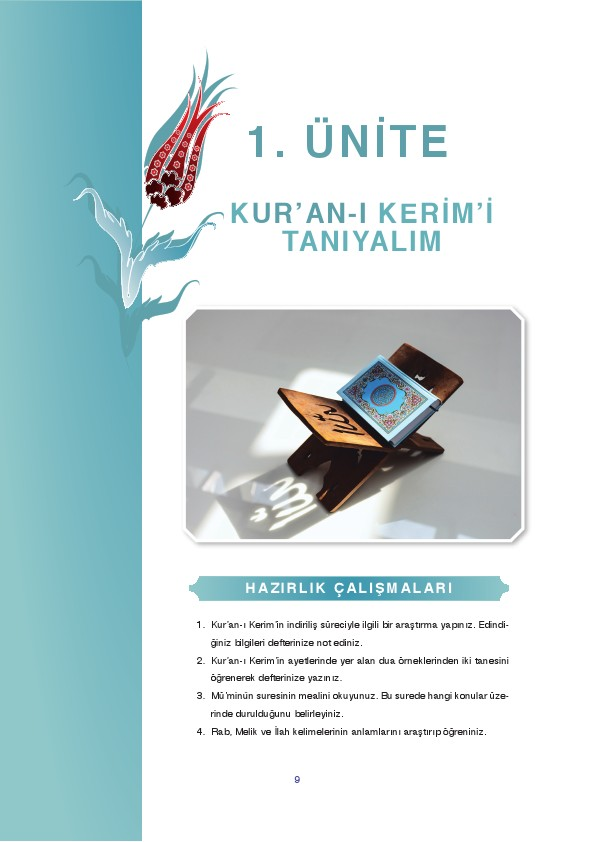 9. Sınıf Kuranı Kerim Ders Kitabı Cevapları Tutku Yayınları Sayfa 9