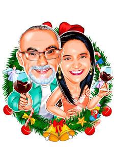 caricatura de casal natal