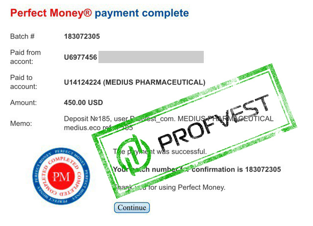 Депозит в Medius Pharmaceutics