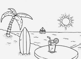 Sketsa Gambar Mewarnai Pemandangan Alam Pantai 6