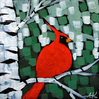 Winter Morning Music No. 1 acrylic birch cardinal painting by artist aaron kloss