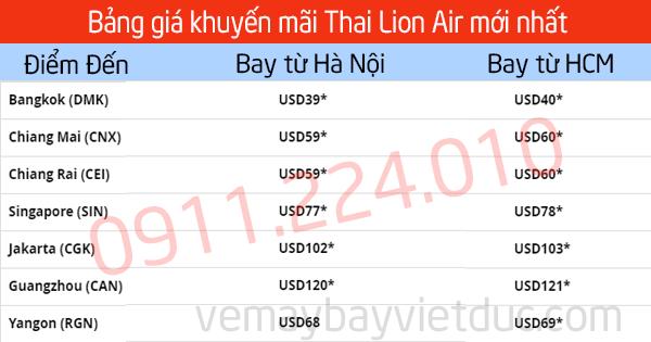 Giá vé khuyến mãi Thai Lion Air đi Bangkok bay từ Hà Nội, HCM giá từ 39 usd