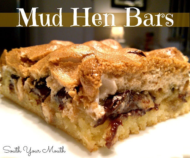 Mud Hen Bars! Layered bar with chocolate chips, marshmallows and nuts topped with a chewy brown sugar meringue!