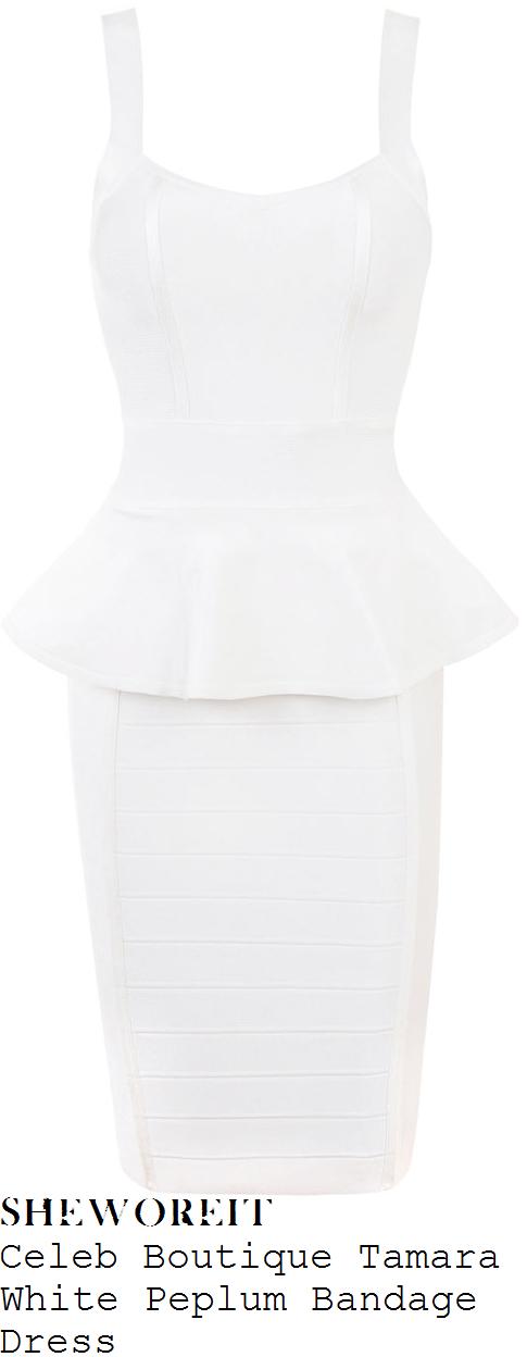 35951bdc6b02 sheworeit: Chloe Sims' Celeb Boutique Tamara Bright White ... Women's White  Leena Bandage Bodycon Dress Cream. This bodycon dress with fitted panel  design ...
