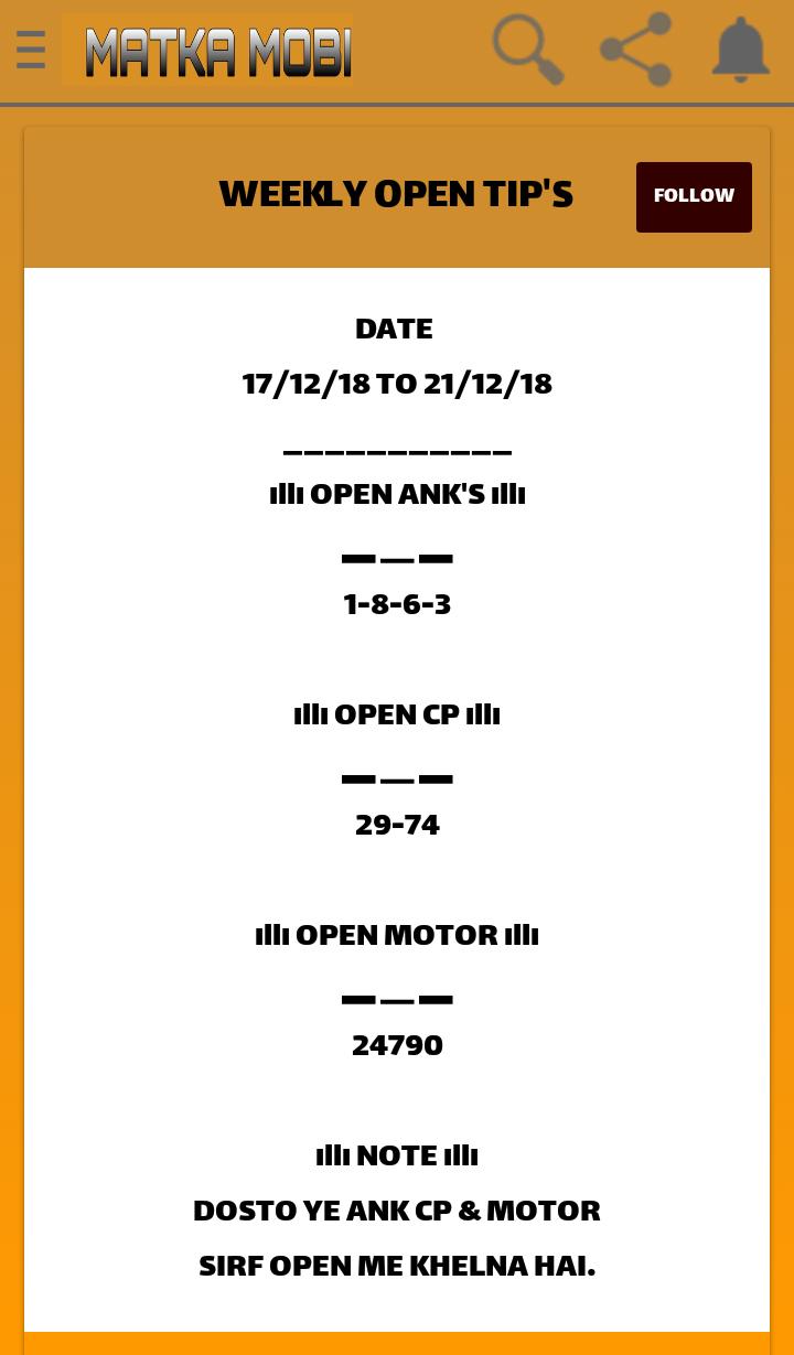 Satta Matka Kalyan Mumbai Weekly Free open close Jodi cp and Motor