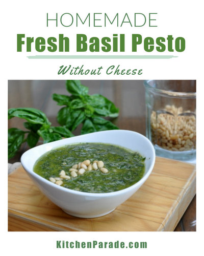 Homemade Basil Pesto ♥ KitchenParade.com, extra basil flavor thanks to no cheese, mixing technique.