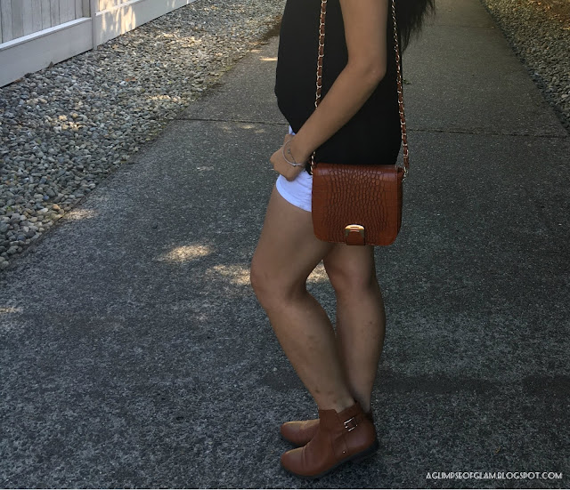 Sleeveless Sweetheart Neckline Black Top White Shorts Brown Boots - Andrea Tiffany A Glimpse of Glam