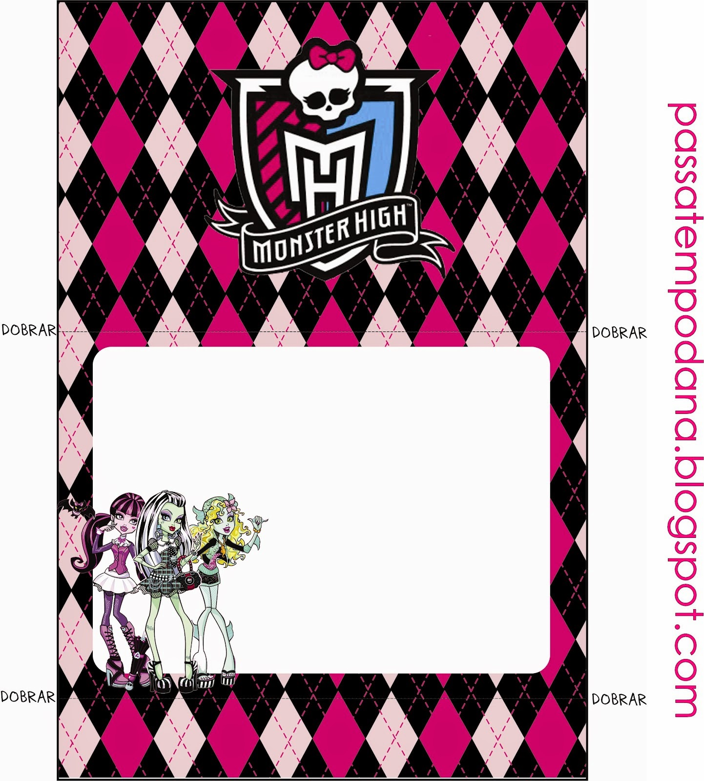 Etiquetas para Candy Bar de Monster High Rosa para Imprimir Gratis.
