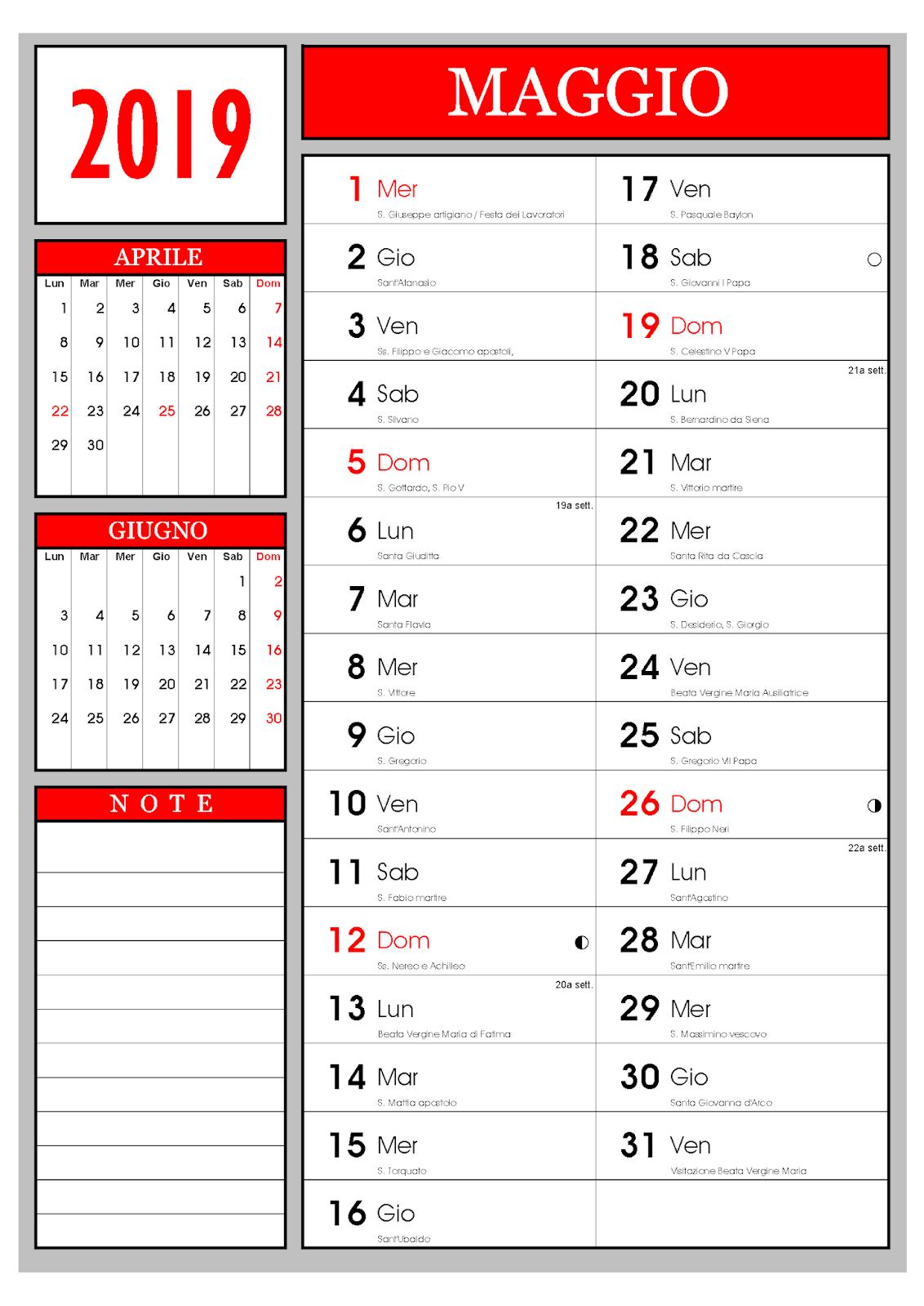 Calendario Calendario Mensile Maggio 2019