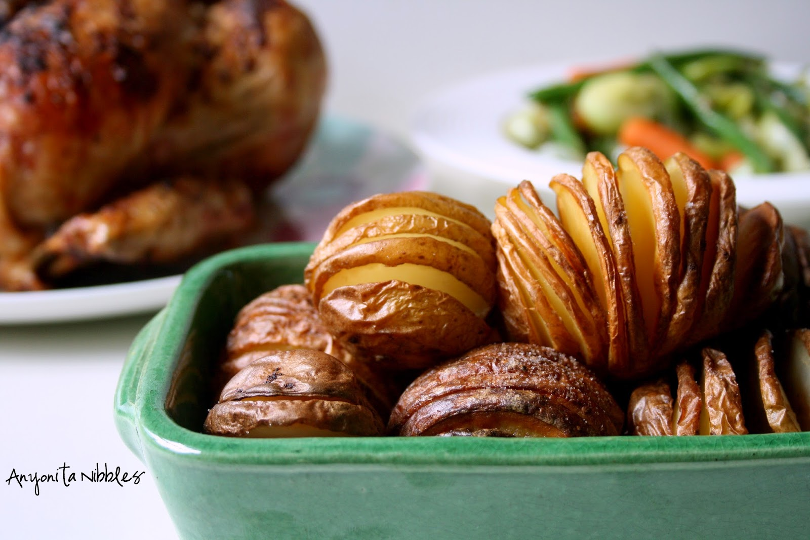 #hassleback potatoes with roast chicken and sauteed spring veg for #mothersdaydinner | Anyonita Nibbles