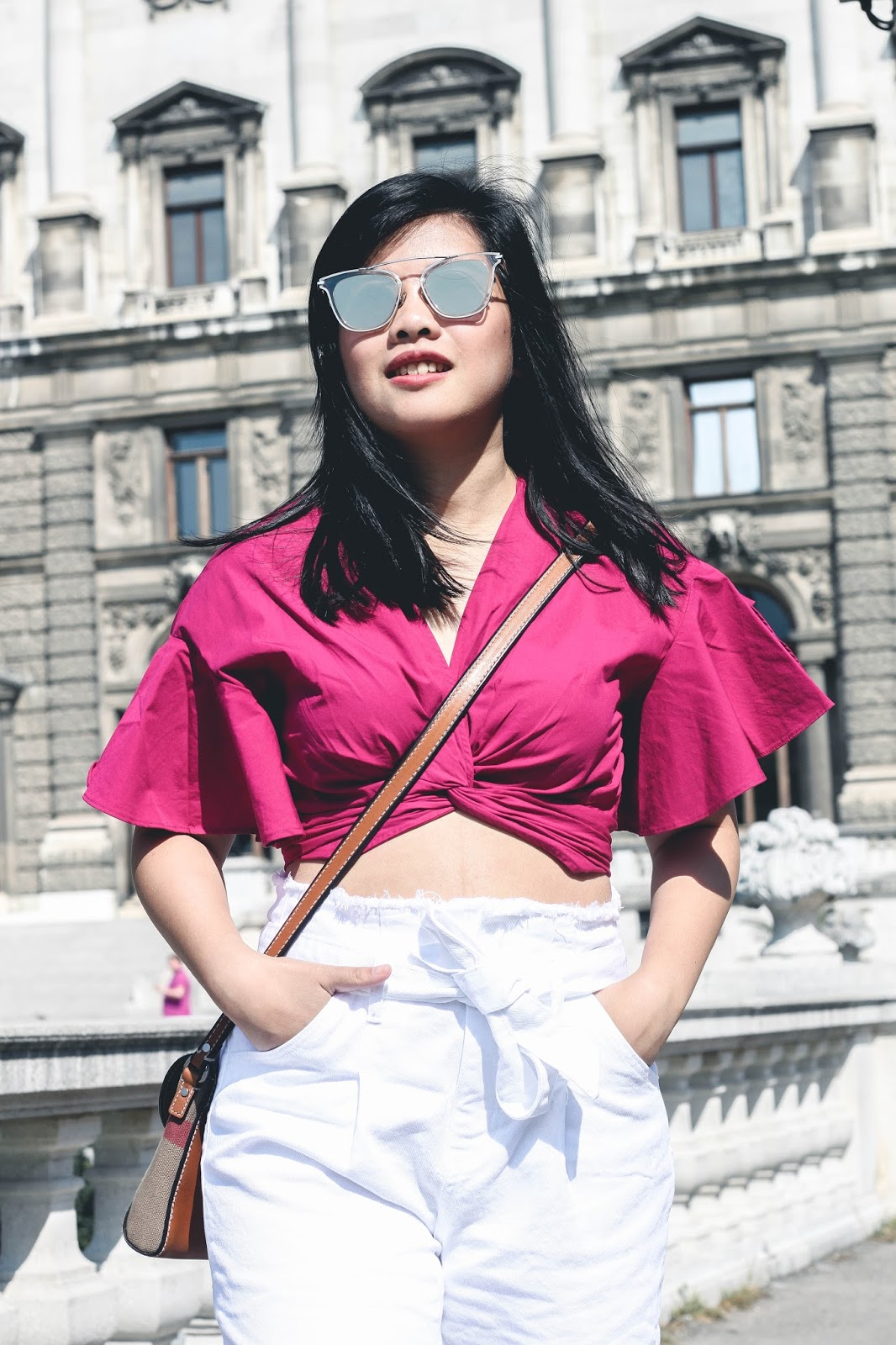 singapore blogger stylexstyle lookbook street style photography photograph ootd wiwt ruffled top fuchsia white pants outfit summer holiday europe vienna