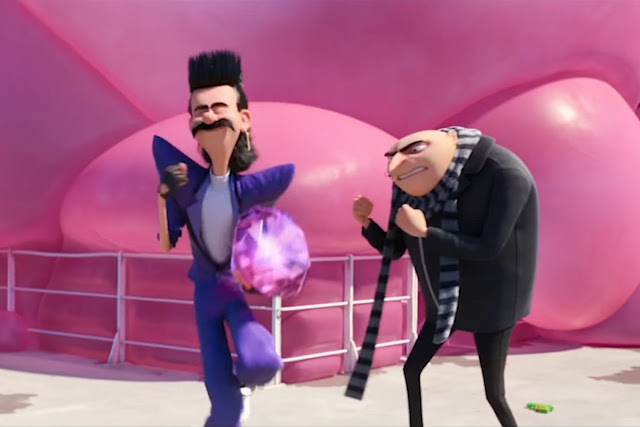 Balthazar Bratt (Trey Parker) et Gru (Steve Carell) dans Moi, moche et méchant 3
