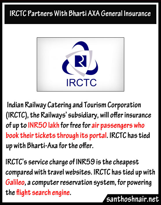 IRCTC partners with Bharti AXA general Insurance