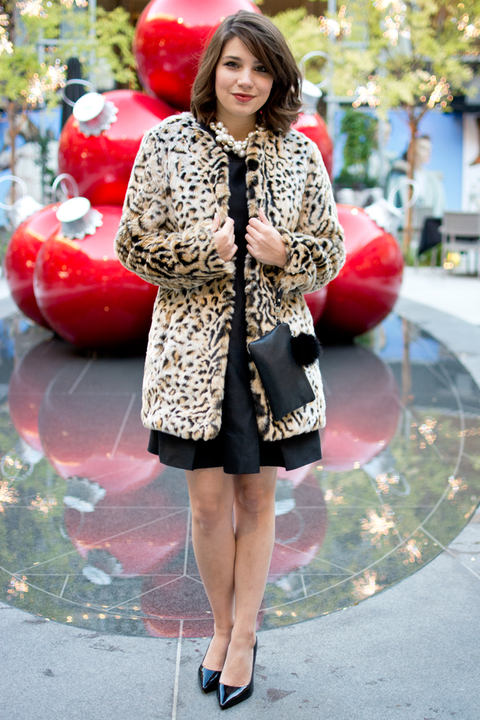 holiday party outfit idea christmas little black dress kate spade leopard print coat