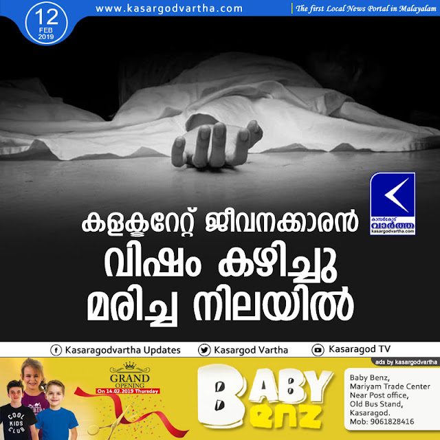 Kasaragod, News, Obituary, Suicide, Collectorate Employee, Collectorate staff commit suicide