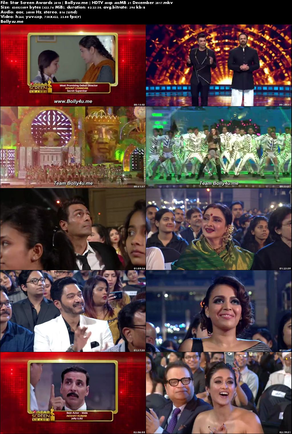 Star Screen Awards 2018 HDTV 480p 400MB 31 December 2017 Download