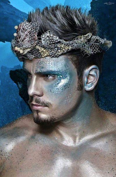 maquiagem masculina sereia halloween