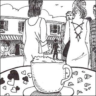 hearts and diamonds, short story, artist jillian, Jillian Crider, ink illustralia, original art, Futures, fashion women, cafe, coffee,